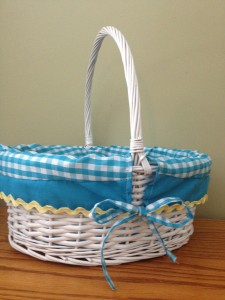 White Basket with Blue and White Gingham Lining