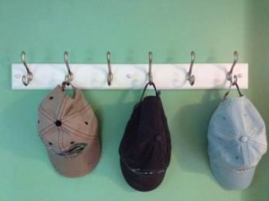 Ideas for Organizing Ball Caps: Hats on hooks