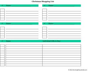 Christmas Shopping List 14 people