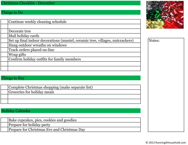Christmas Checklist December