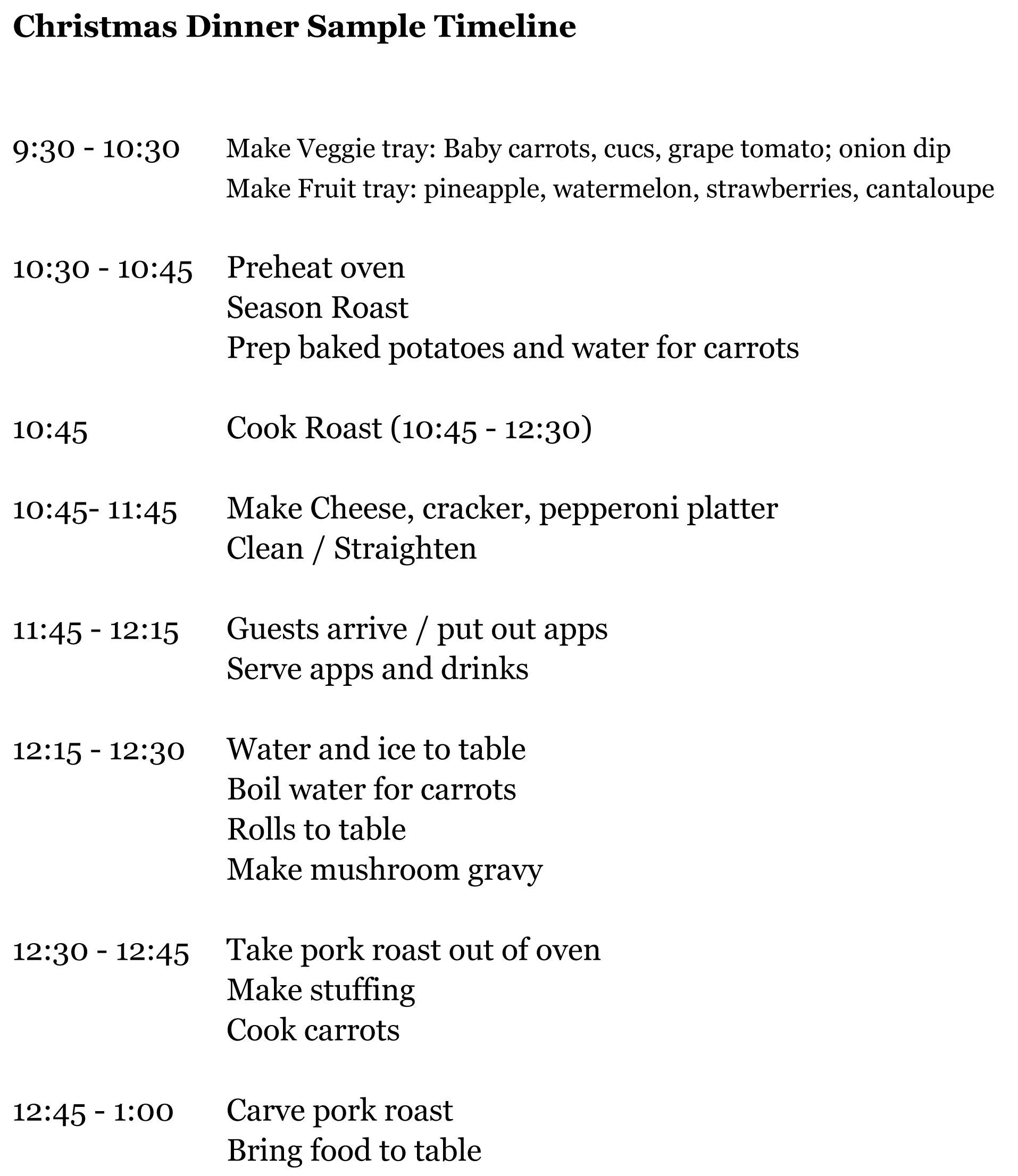 Planning Christmas Dinner - Running A Household