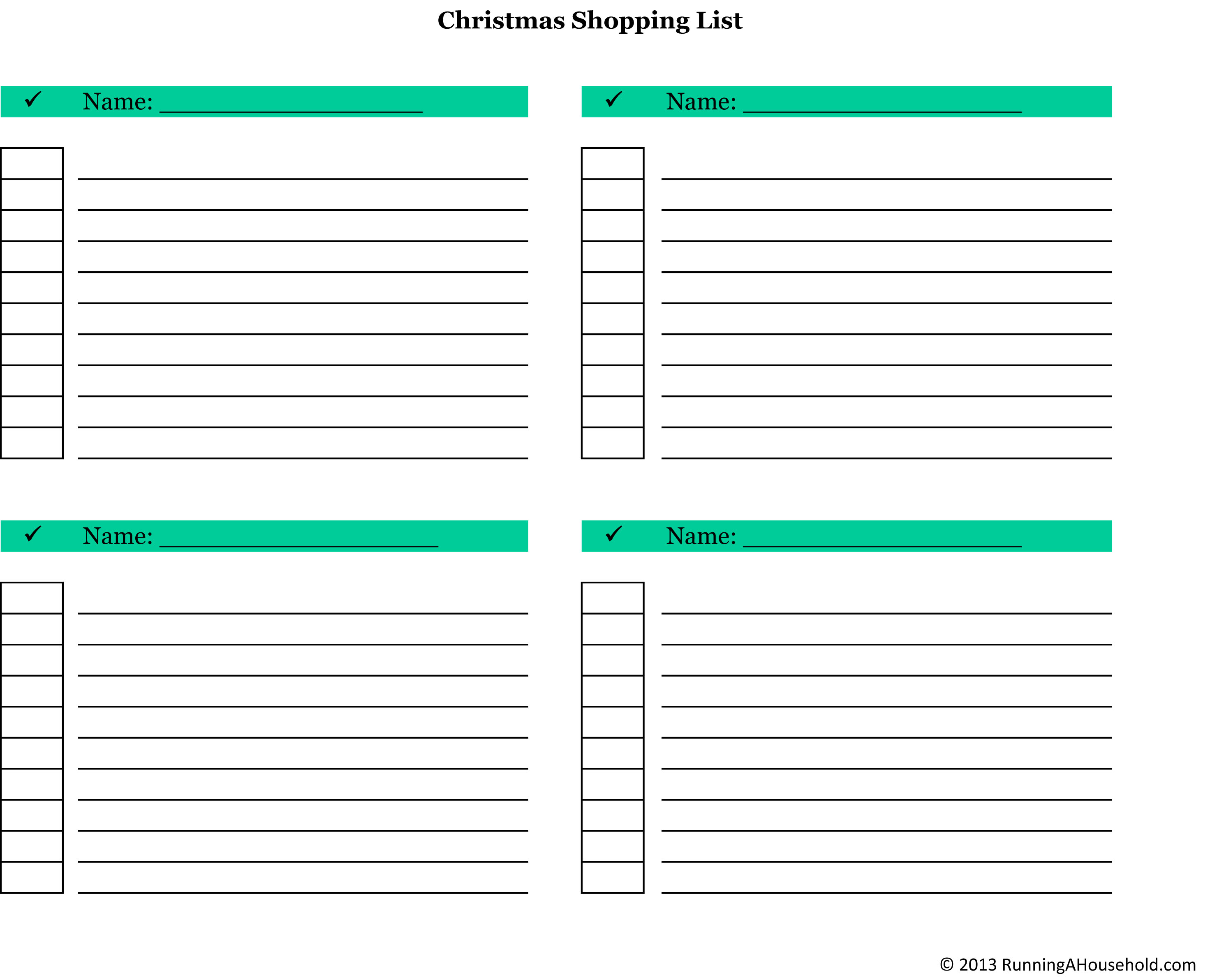 Christmas Checklist Archives Running A Household