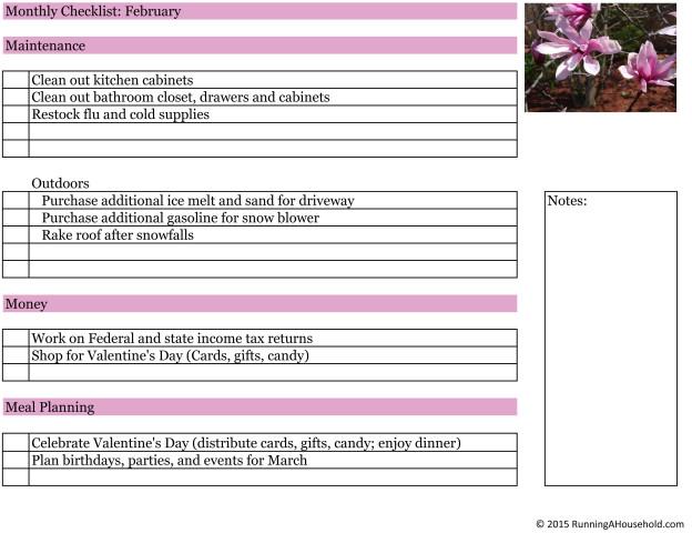 Household Checklist for February