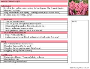 Household Checklist for April