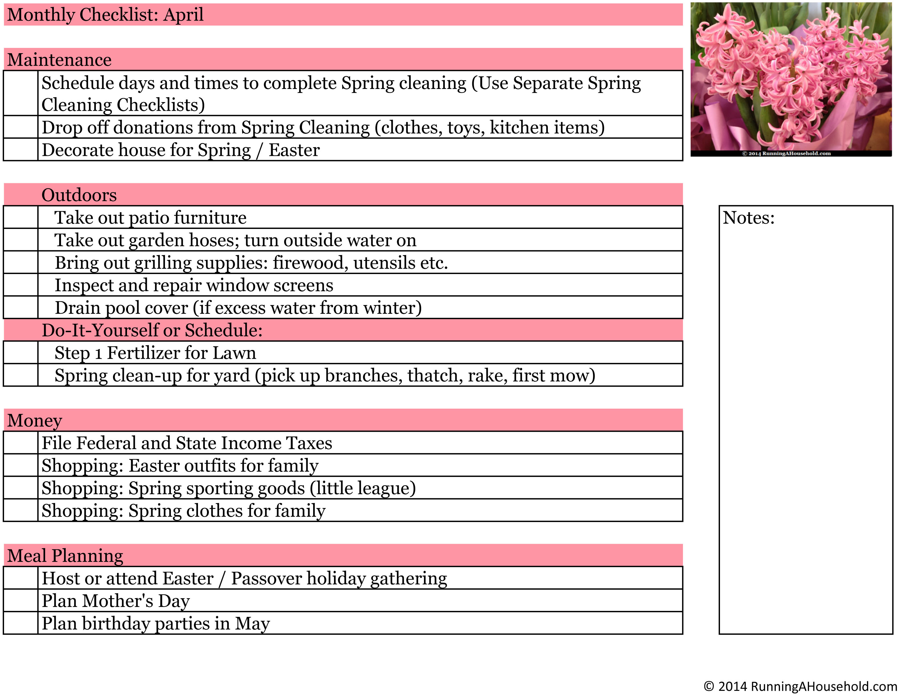 Household checklist for april running a household for Garden maintenance checklist