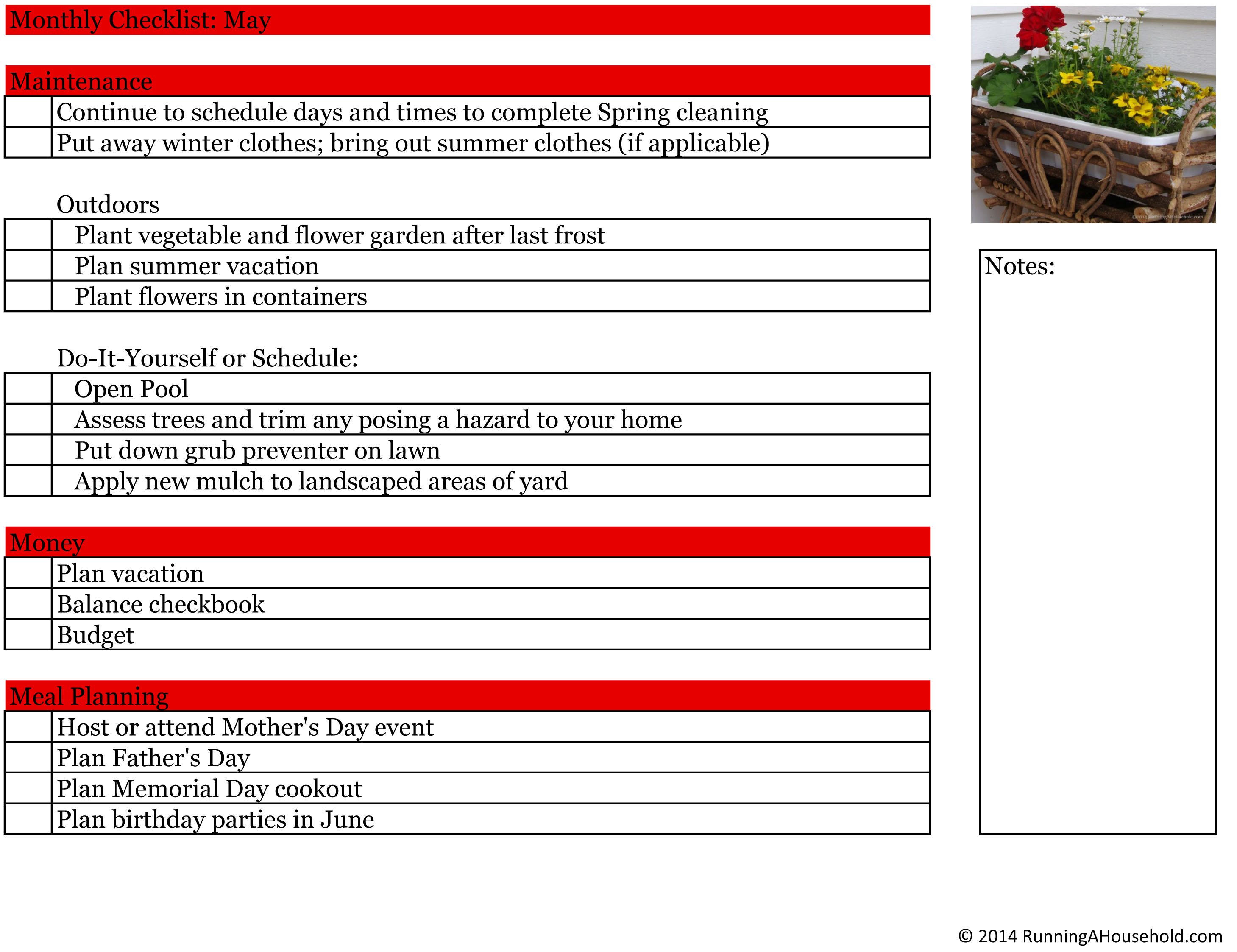 Printable Household Checklist For May