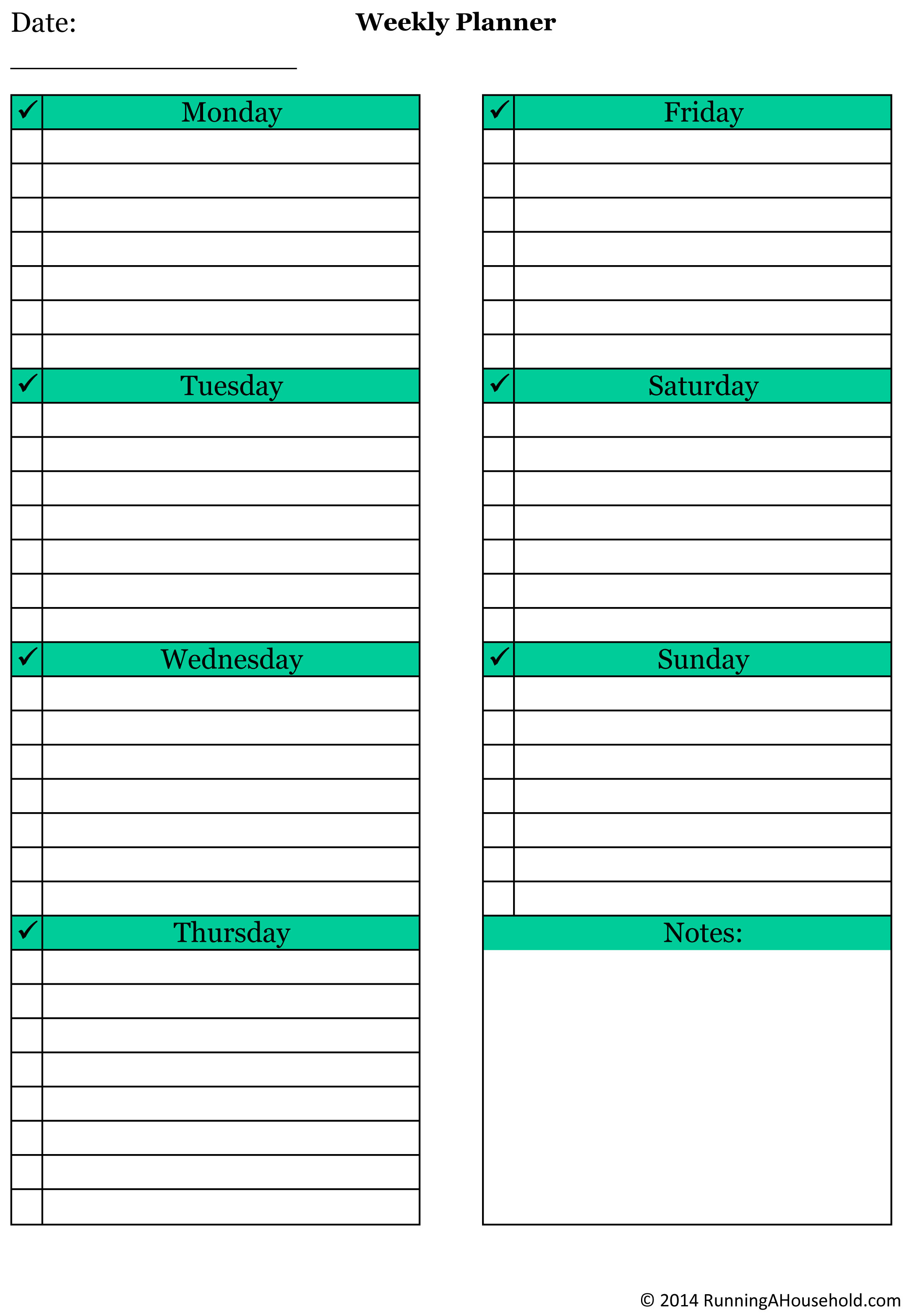 free printable charts and checklists. Weekly Planner.xlsx Free Printable Charts And Checklists T