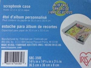 12 x 12 Scrapbook Case Label