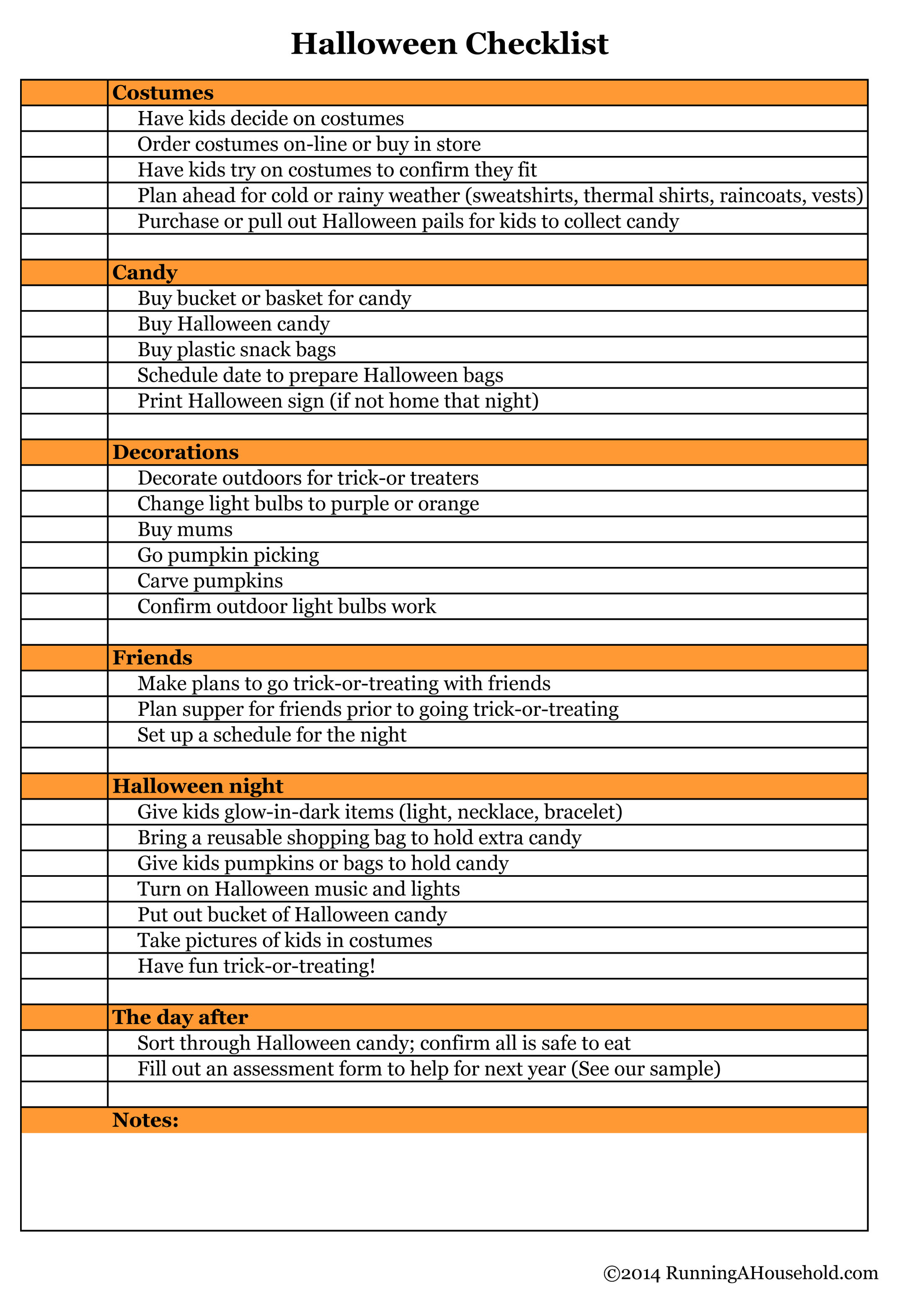 Halloween Checklist You Can't Miss - Running A Household