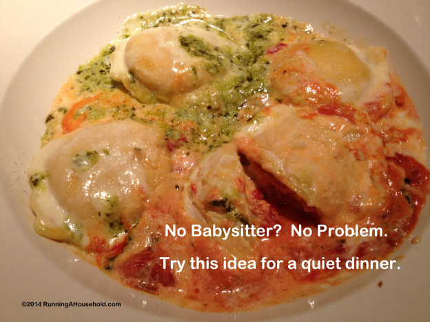 No babysitter? No problem. Try this idea for a quiet dinner.