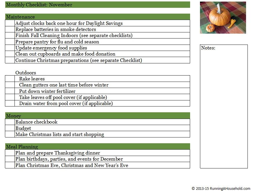 Household Checklist For November