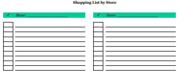 Christmas Shopping list by store