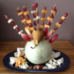 Thanksgiving turkey appetizer with fruit cheese skewers