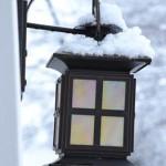 Snow on outdoor light
