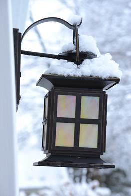 Snow on outdoor light