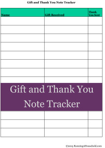 Gift and Thank You Note Tracker