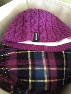Hats and scarves in bin