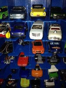 Matchbox cars in case