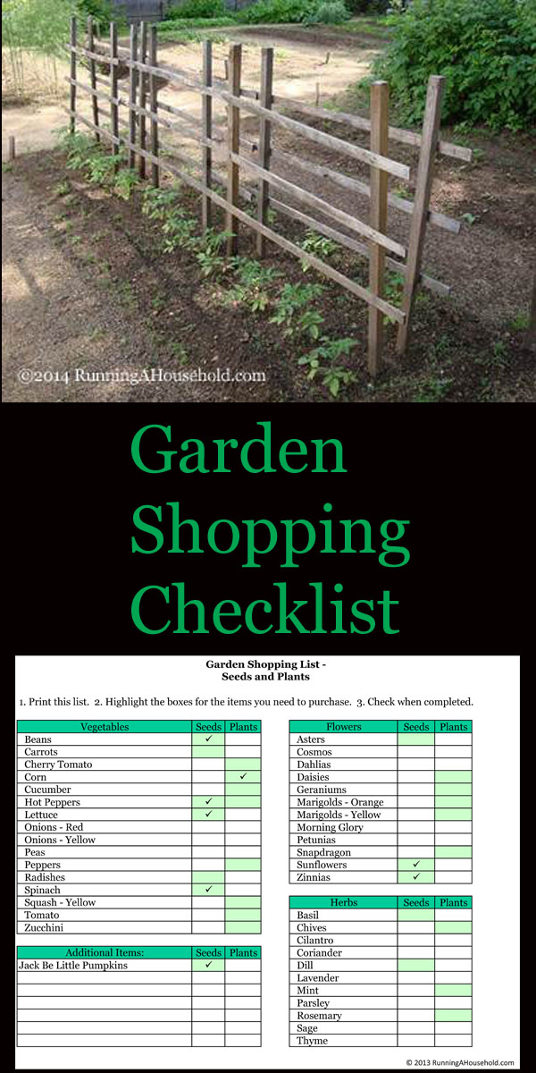 printable garden shopping checklist