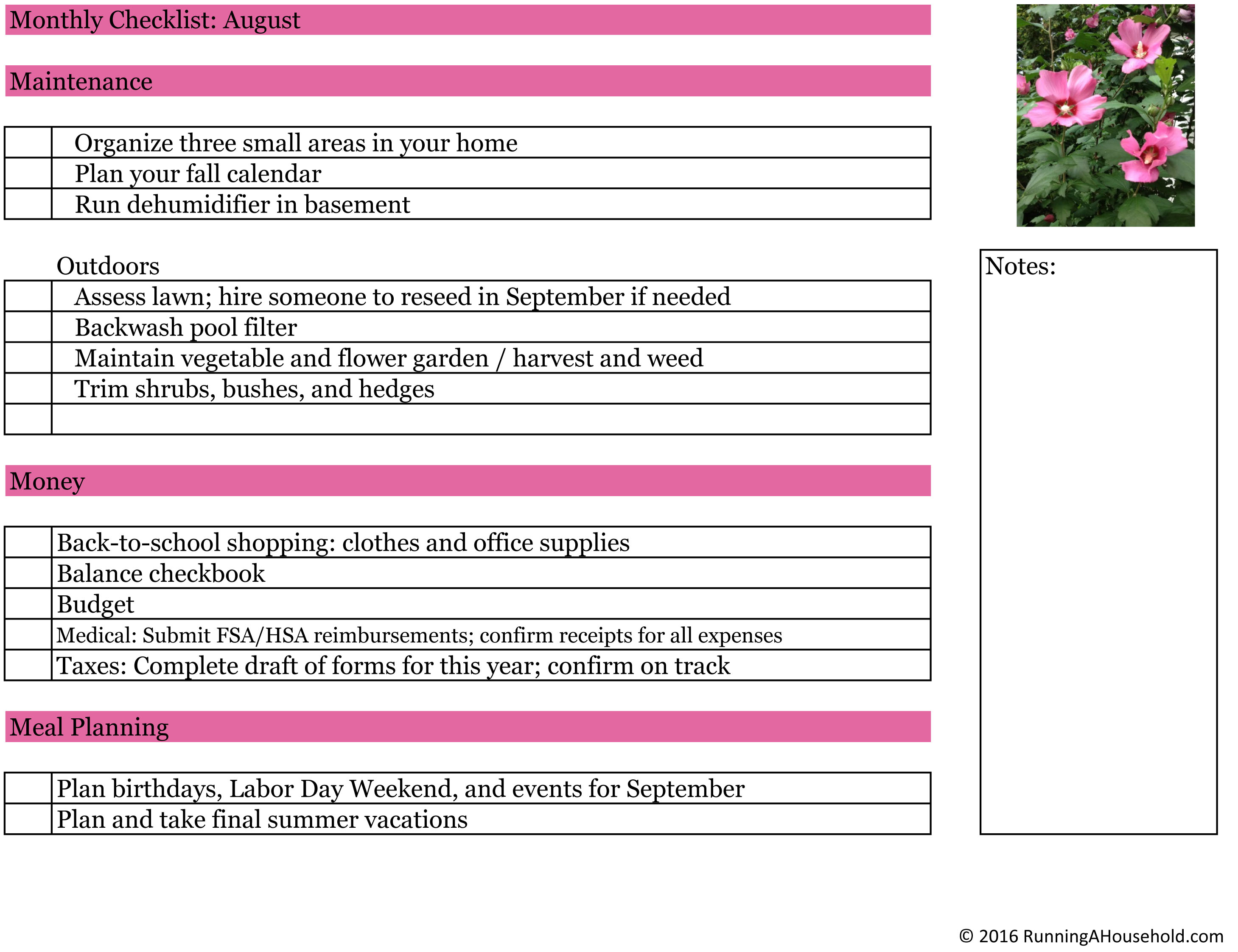 Superb Household Checklist For August Running A Household Download Free Architecture Designs Xoliawazosbritishbridgeorg