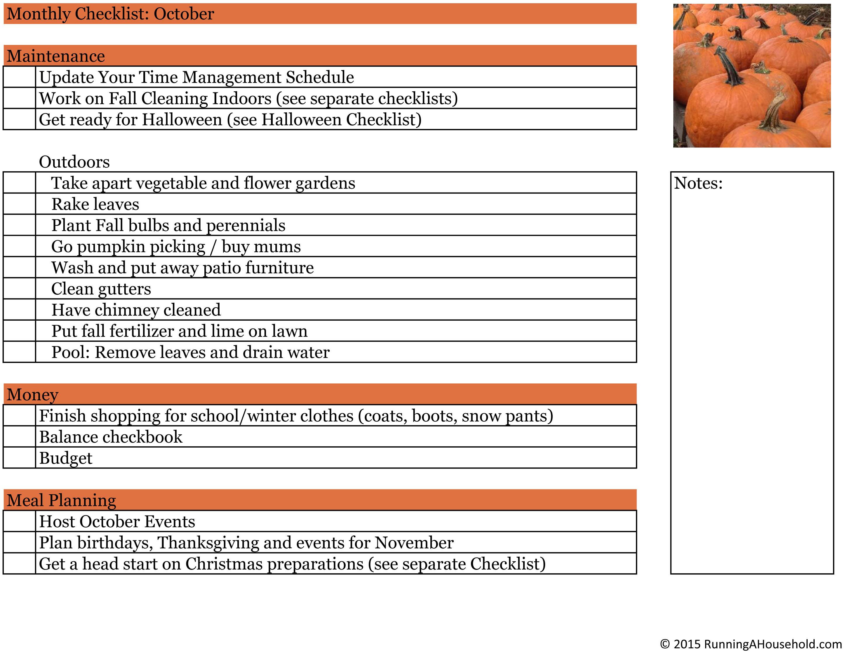 Household Checklist For October Running A Household