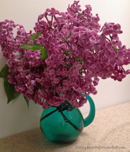 lilacs in bathroom