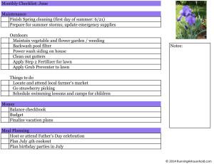 Household Checklist for June