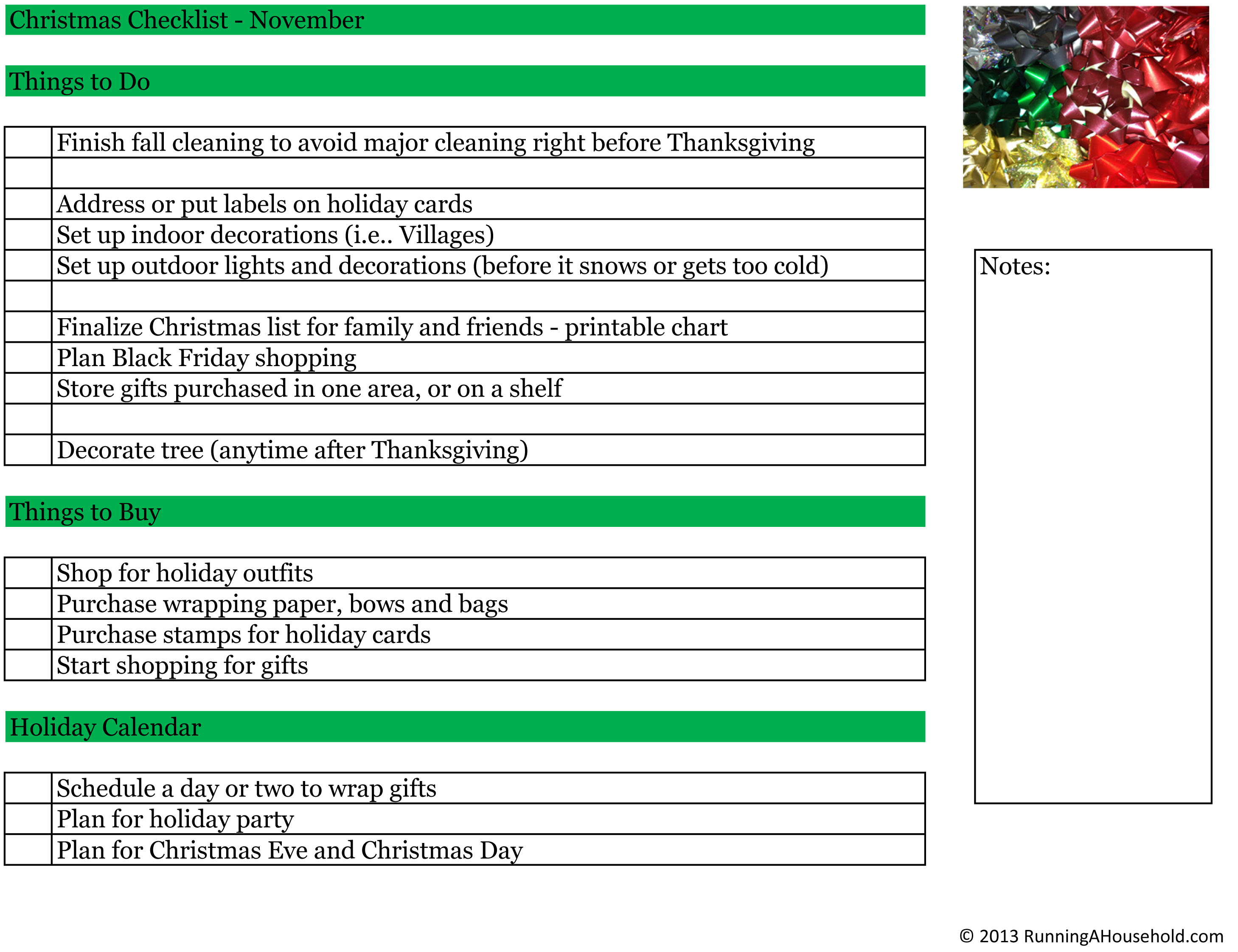 Time Management Archives Running A Household – Christmas Preparation Checklist