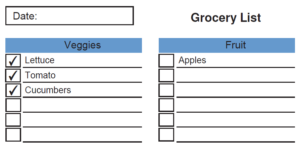 Editable Grocery List by Department