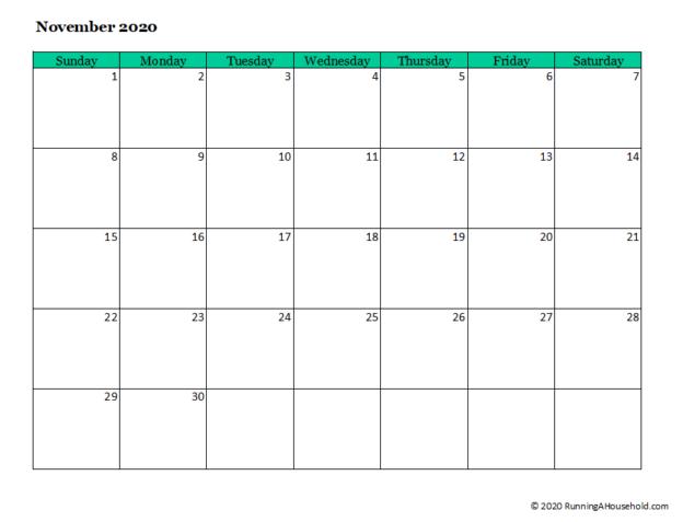 Free Blank printable monthly calendar 2020